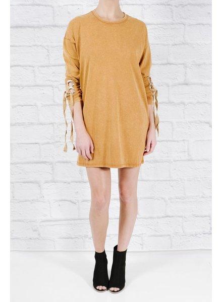 Sweatshirt Acid washed sleeve detail sweatshirt dress
