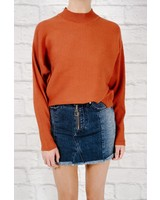Sweater Ribbed dolman sleeve sweater