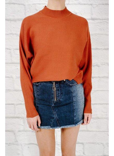 Sweater Ribbed dolman sleeve sweater