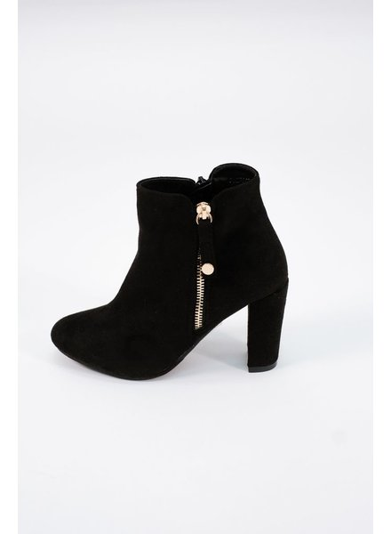 Bootie Black stacked heeled bootie