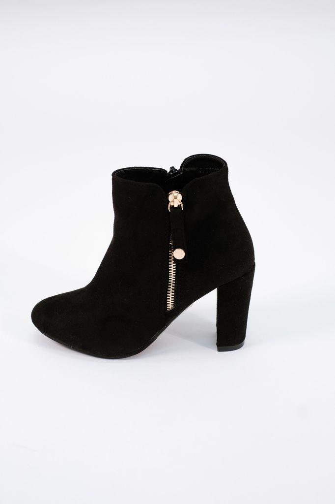 Bootie Black stacked heeled bootie