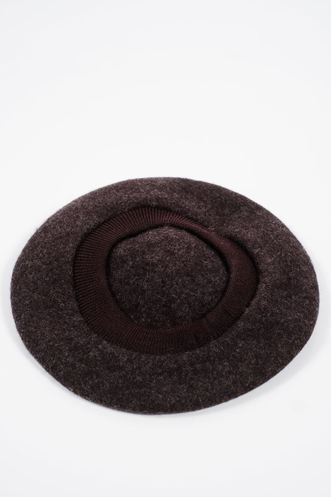 Hat Charcoal-black pom pom beret