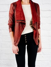 Lightweight Wine side zip suede jacket