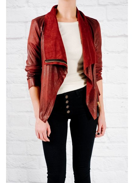 Lightweight Wine side zip suede jacket