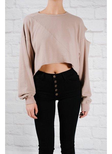 Sweatshirt Unbalanced oversized cropped sweatshirt
