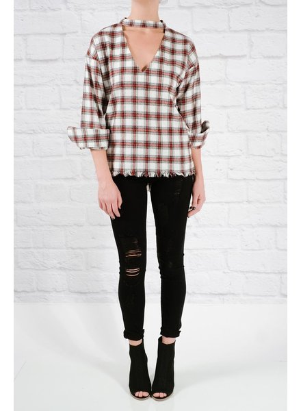 Blouse Fringed hem plaid