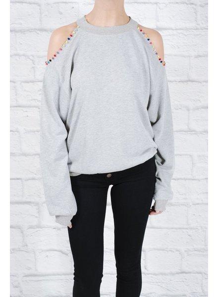 Sweatshirt Pom-pom trim cold shoulder sweatshirt