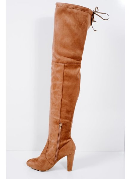 Boot Taupe heeled otk boot