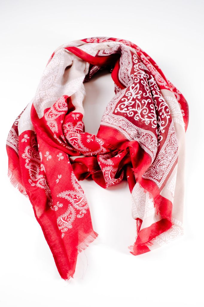 Scarf Red bandana print scarf
