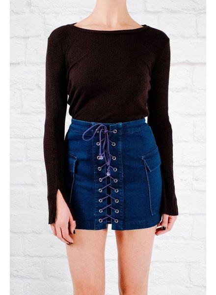 T-shirt Black ribbed knit basic