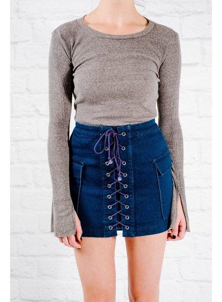 T-shirt Charcoal ribbed knit basic