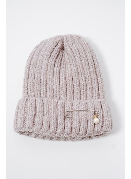 Hat Grey pin & pearl knit hat