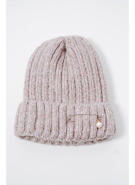 Hat Grey pin & pearl knit hat