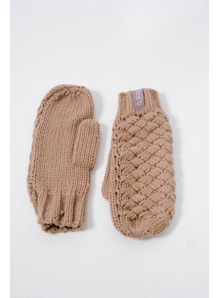 Gloves Cross weave mocha mittens