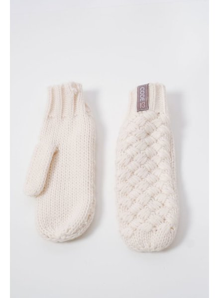 Gloves Cross weave ivory mittens