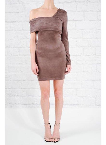 Mini Grey suede long sleeve dress