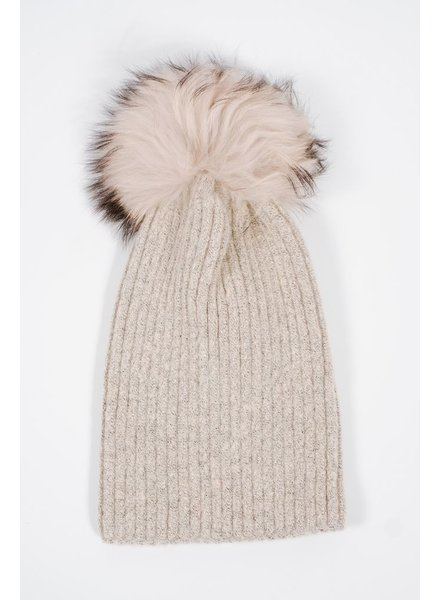 Knit Beige detachable fur pom hat