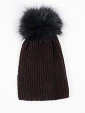 Knit Black detachable fur pom hat