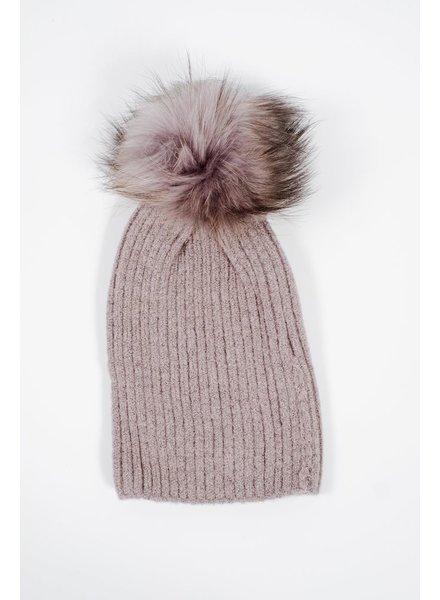 Knit Dark grey detachable fur pom hat