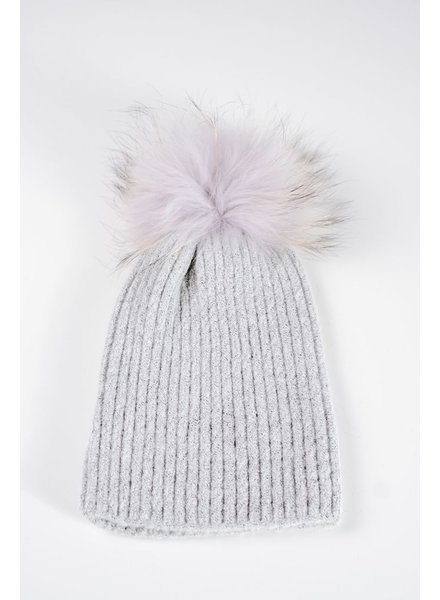 Knit Light grey detachable fur pom hat