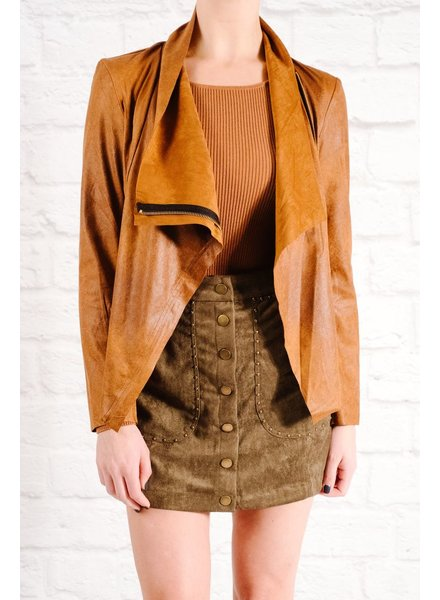 Lightweight Rust side zip suede jacket