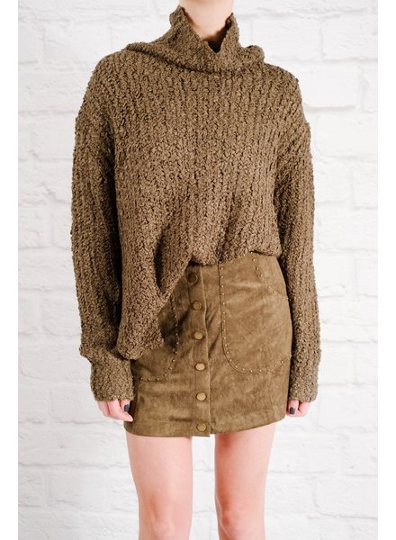 Sweater Olive bouclé knit sweater