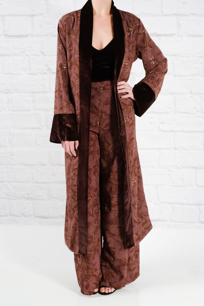 Floral wine robe duster