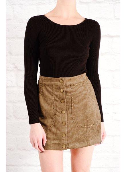 Skirt Olive studded snap mini skirt