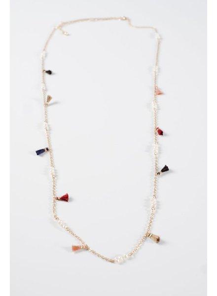 Long Multicolor tassel necklace