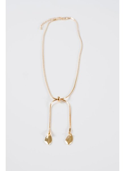 Gold Gold double leaf necklace