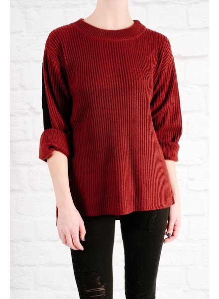 Sweater Buckle back ribbed knit