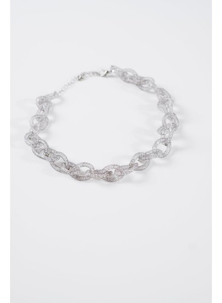 Dressy Gunmetal mesh link necklace