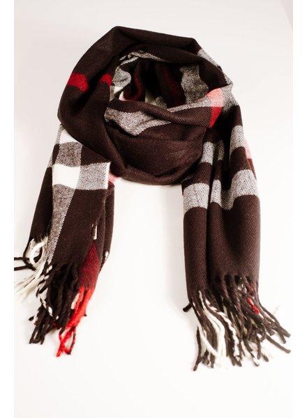 Scarf Black oblong plaid scarf