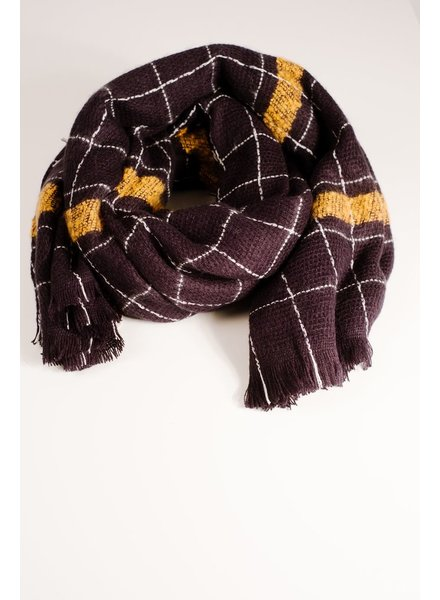 Scarf Navy checkered blanket scarf