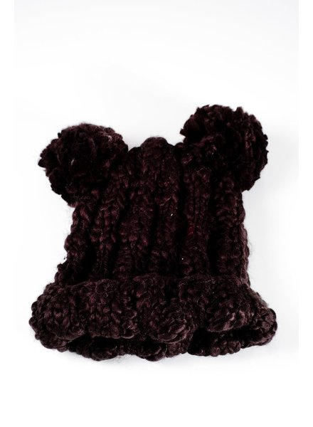 Hat Black knit double pom pom hat