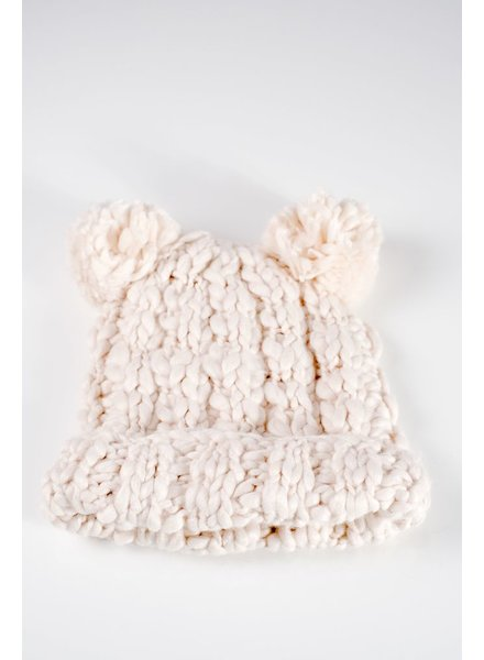 Hat Ivory knit double pom pom hat