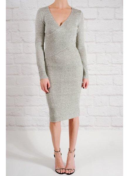 Knit Ribbed cross-over knit dress