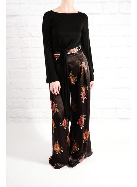 Pants Black floral print pants