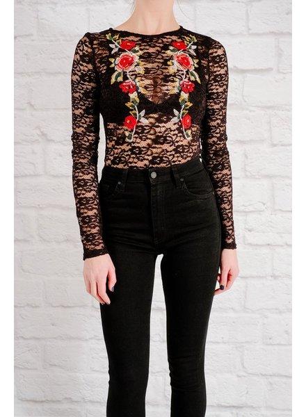 Bodysuit Floral lace bodysuit
