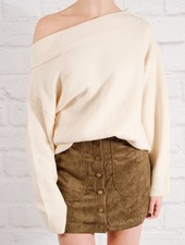 Sweater Textured draped shoulder sweater