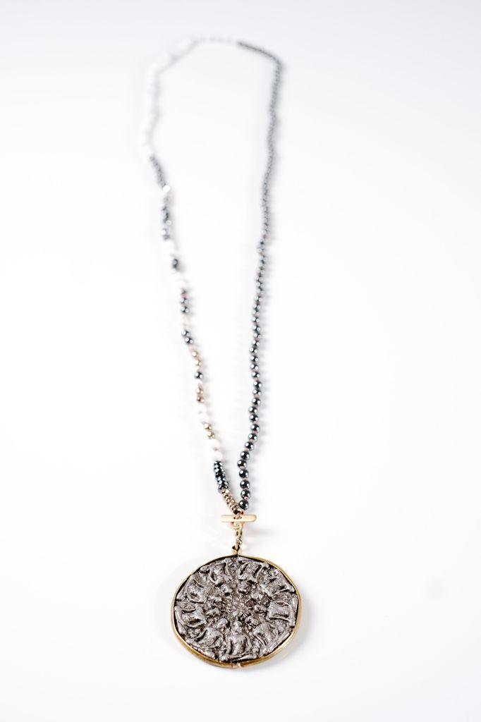 Long Ancient medalion pendant