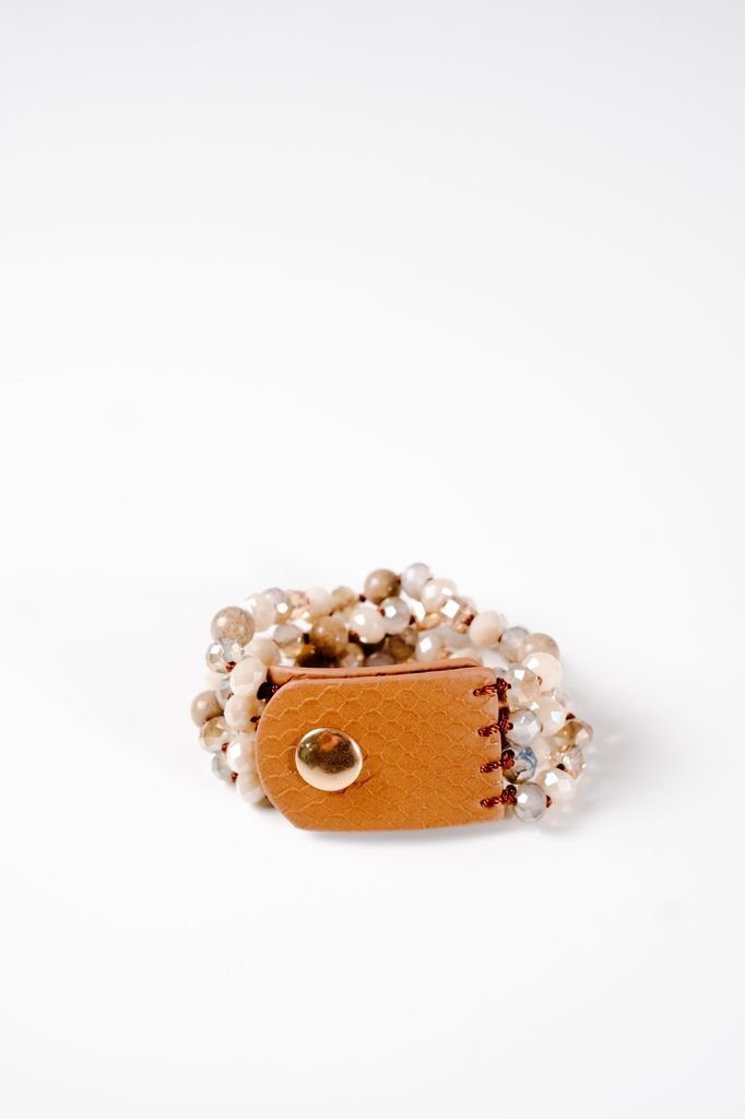 Stone Beaded leather bracelet