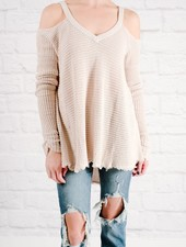 Sweater Cold shoulder waffle knit