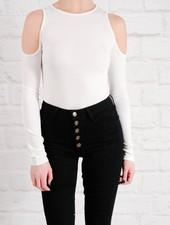Bodysuit White cold shoulder bodysuit