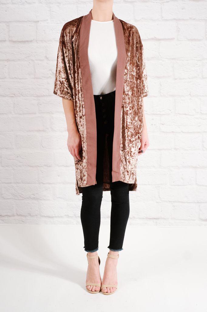 Cardigan Mauve velvet kimono - Bobbles and Lace