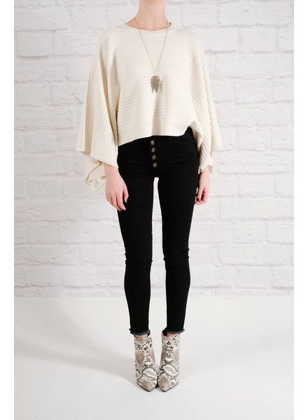 Sweater Ivory dolman cape sweater