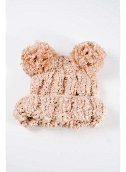 Hat Tan knit double pom pom hat