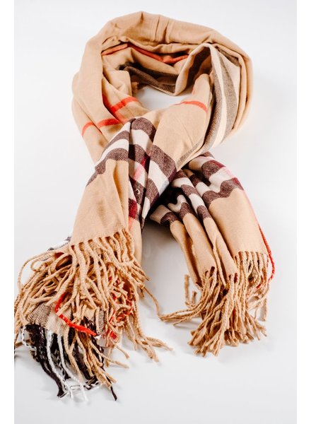 Scarf Oversized camel plaid blanket scarf