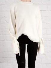 Sweater Ivory tie & bell sleeve sweater