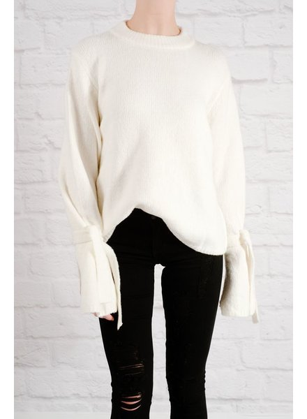 Sweater Ivory tie & bell sleeve sweater